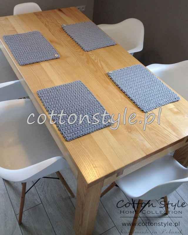 Szare podkładki na stół ze sznurka bawełnianego